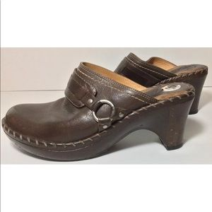 Frye Boots Slip On Harness Buckle Clogs Mules